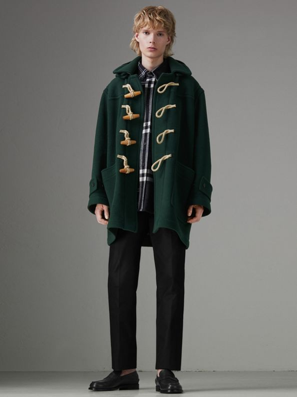 Gosha x Burberry Oversized Duffle Coat in Dark Forest Green