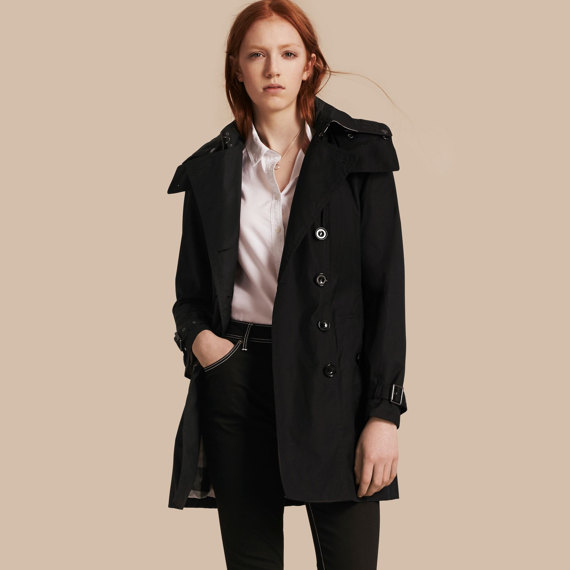 Black Hooded Cotton Trench Coat with Warmer Black - gallery image 1