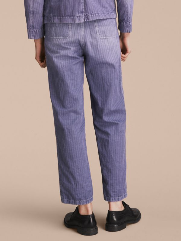 Herringbone Cotton Linen Cropped Workwear Trousers in Indigo - Men | Burberry United States - cell image 2