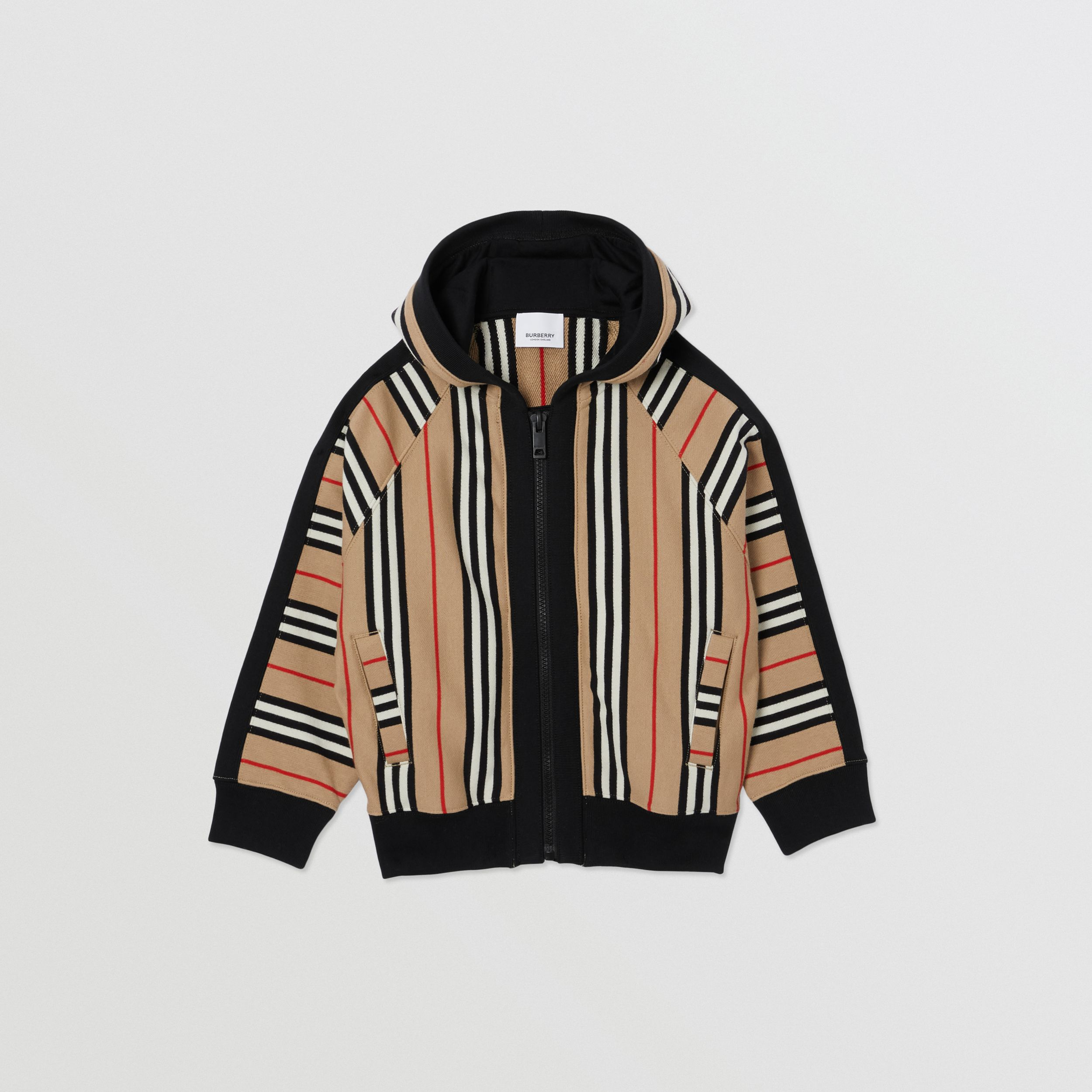 Icon Stripe Cotton Hooded Top in Archive Beige | Burberry Australia - 1