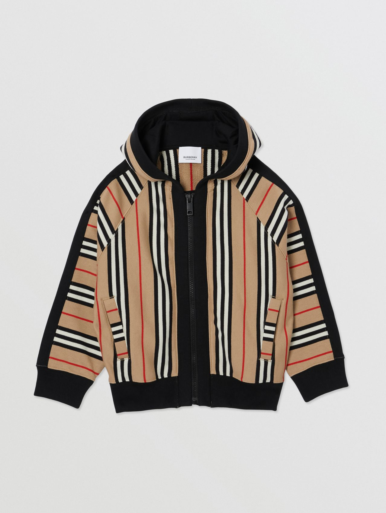Icon Stripe Cotton Hooded Top in Archive Beige