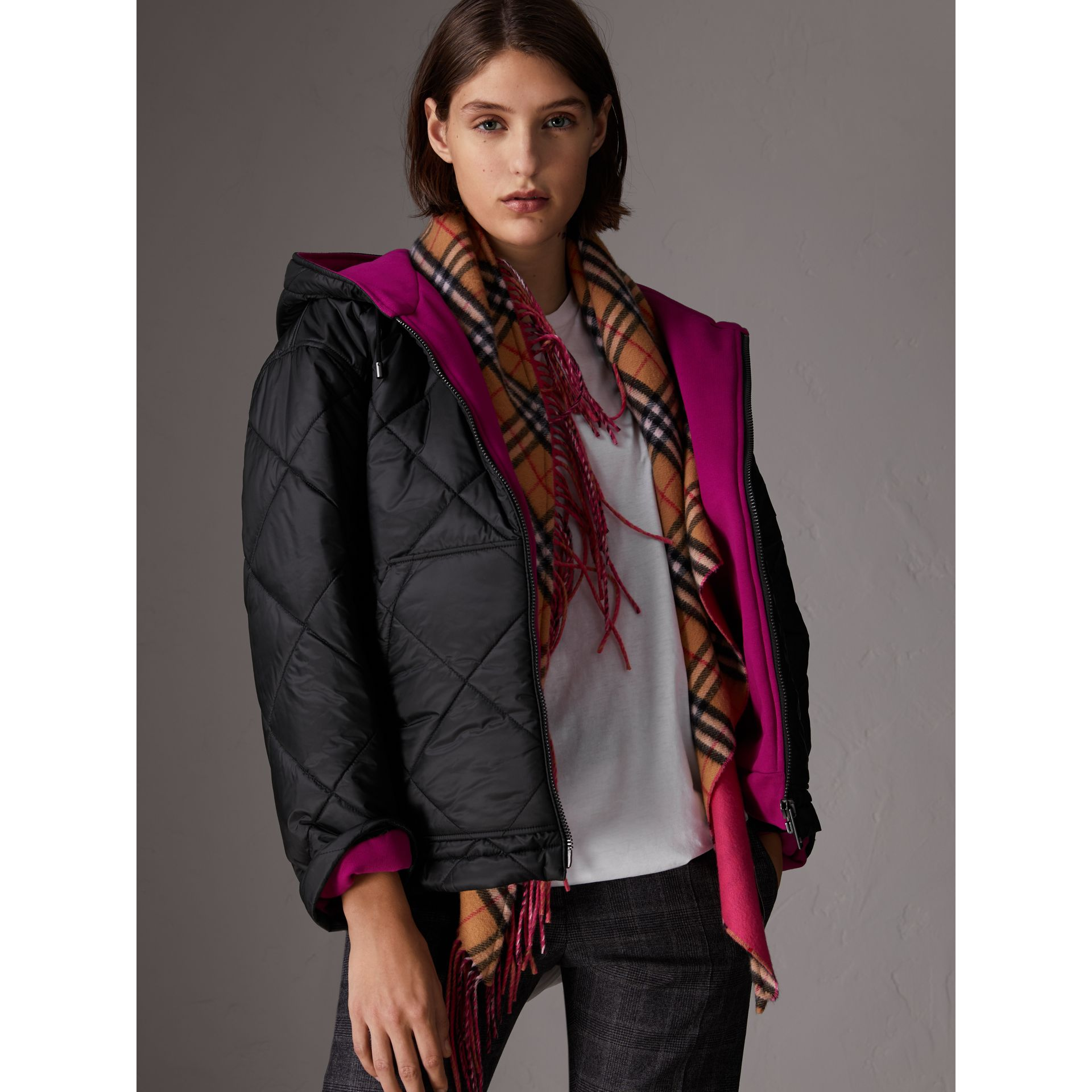Reversible Diamond Quilted Hooded Jacket in Black - Women | Burberry - gallery image 4