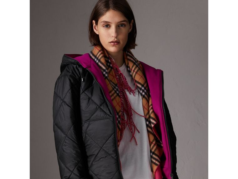 Reversible Diamond Quilted Hooded Jacket in Black - Women | Burberry Singapore - cell image 4