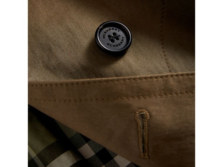 Detachable Hood Cotton Blend Trench Coat in Dark Olive | Burberry - cell image 1