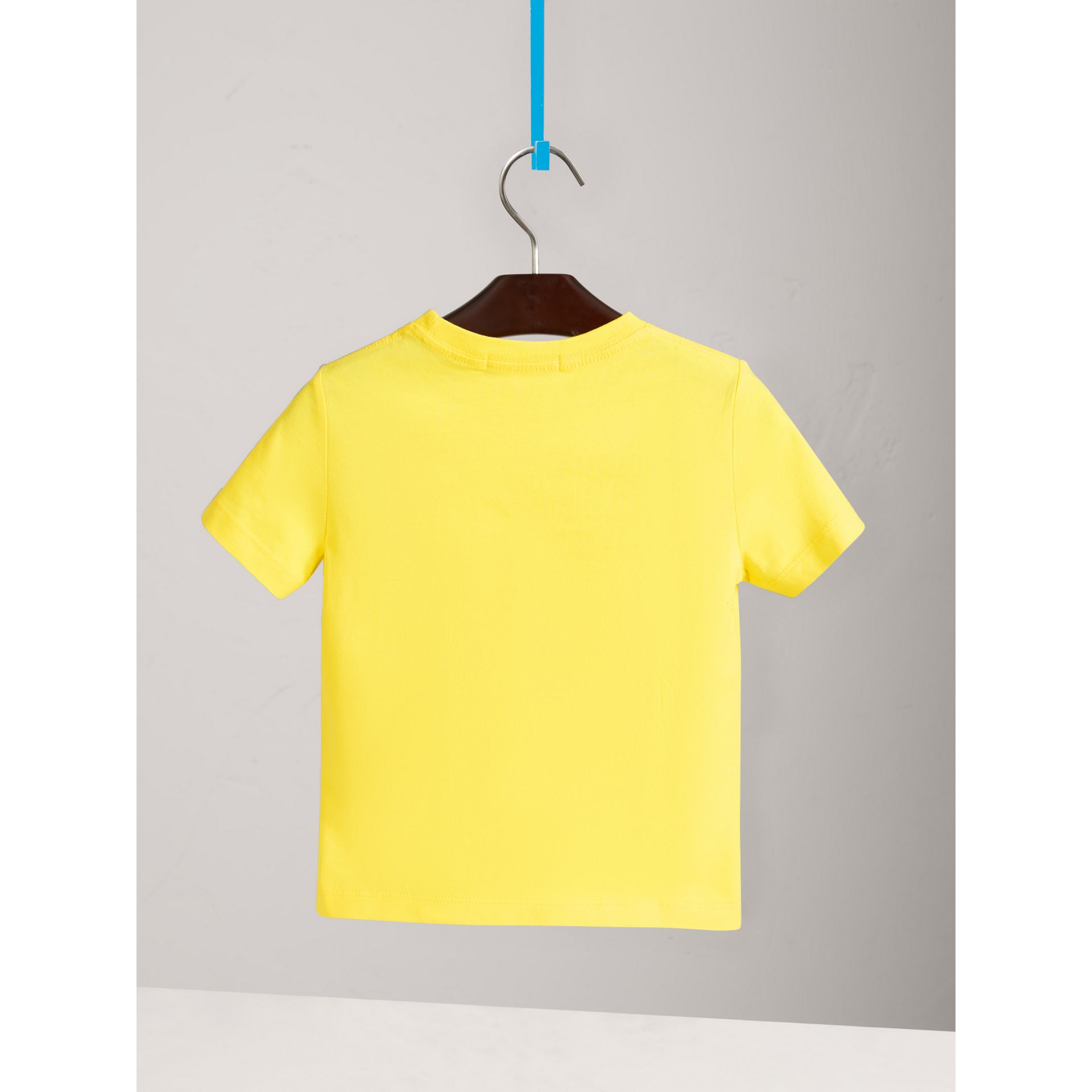 Check Pocket Cotton T-shirt in Bright Citrus Yellow - Boy | Burberry - gallery image 3