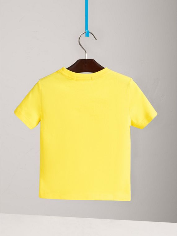 Check Pocket Cotton T-shirt in Bright Citrus Yellow - Boy | Burberry - cell image 3