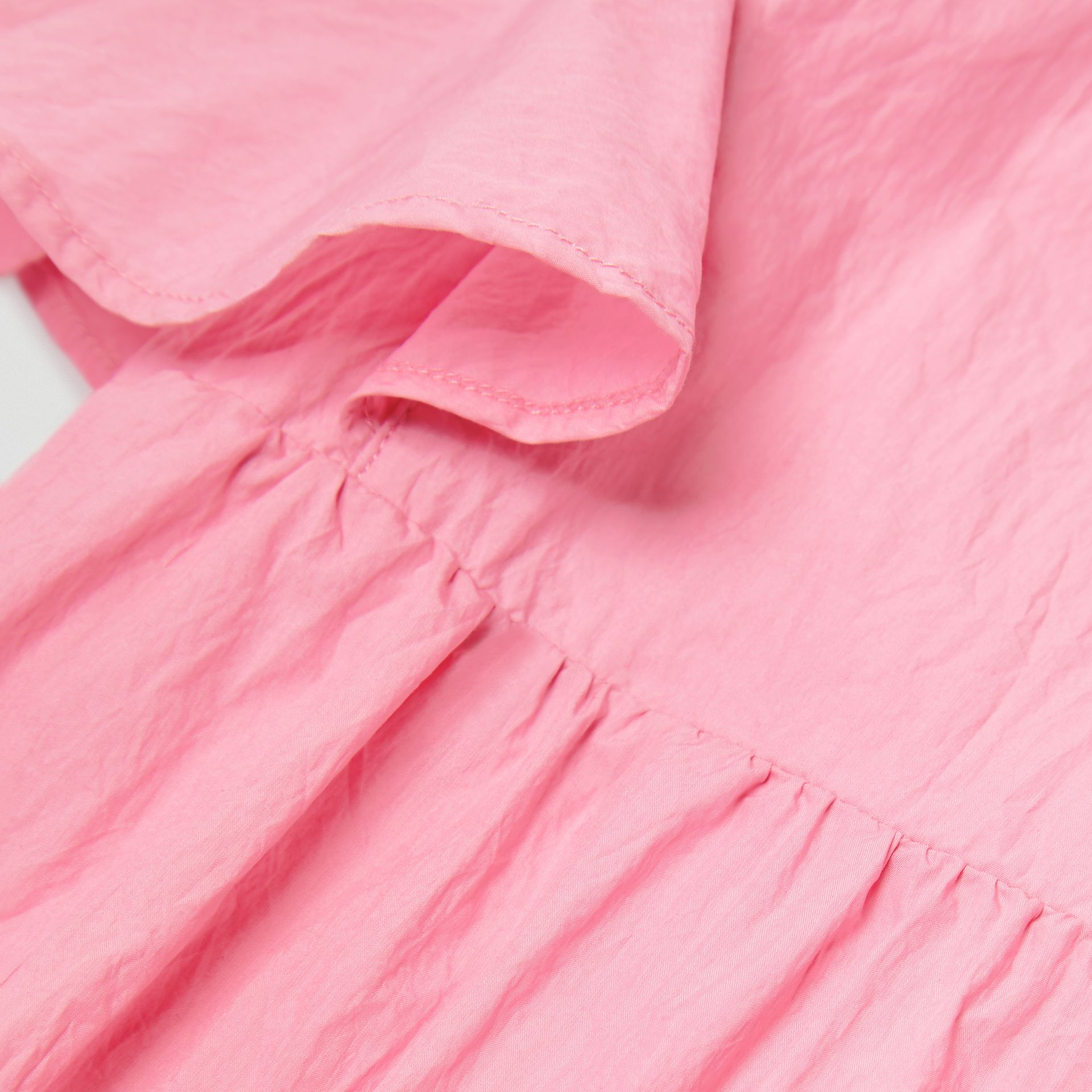 Ruffled Detail Crinkled Cotton Blend Dress in Bright Rose - Children | Burberry - gallery image 1