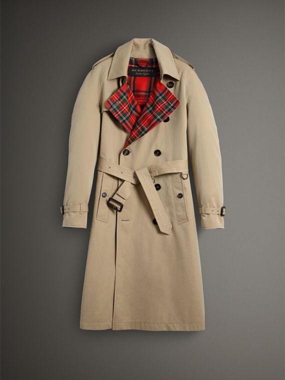 Tartan-lined Cotton Gabardine Trench Coat in Honey - Men | Burberry Singapore - cell image 3