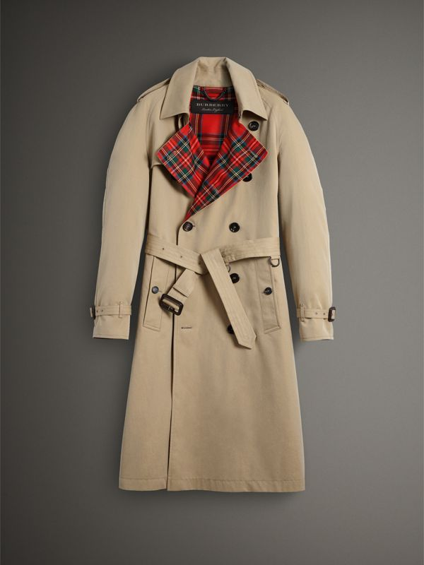 Tartan-lined Cotton Gabardine Trench Coat in Honey - Men | Burberry - cell image 3