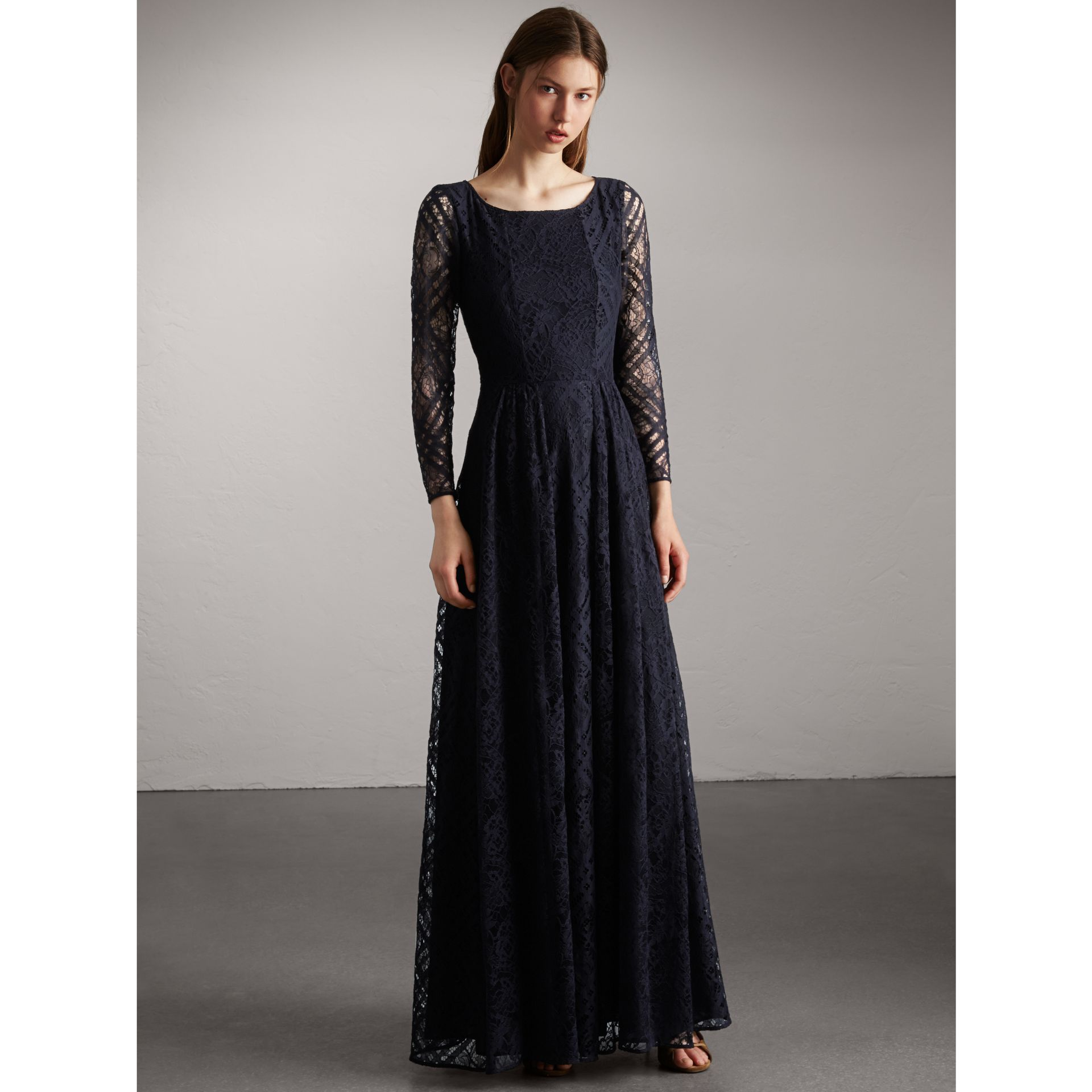 Check Lace Floor-length Dress in Navy - Women | Burberry - gallery image 1