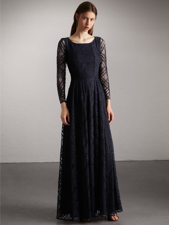 Check Lace Floor-length Dress - Women | Burberry