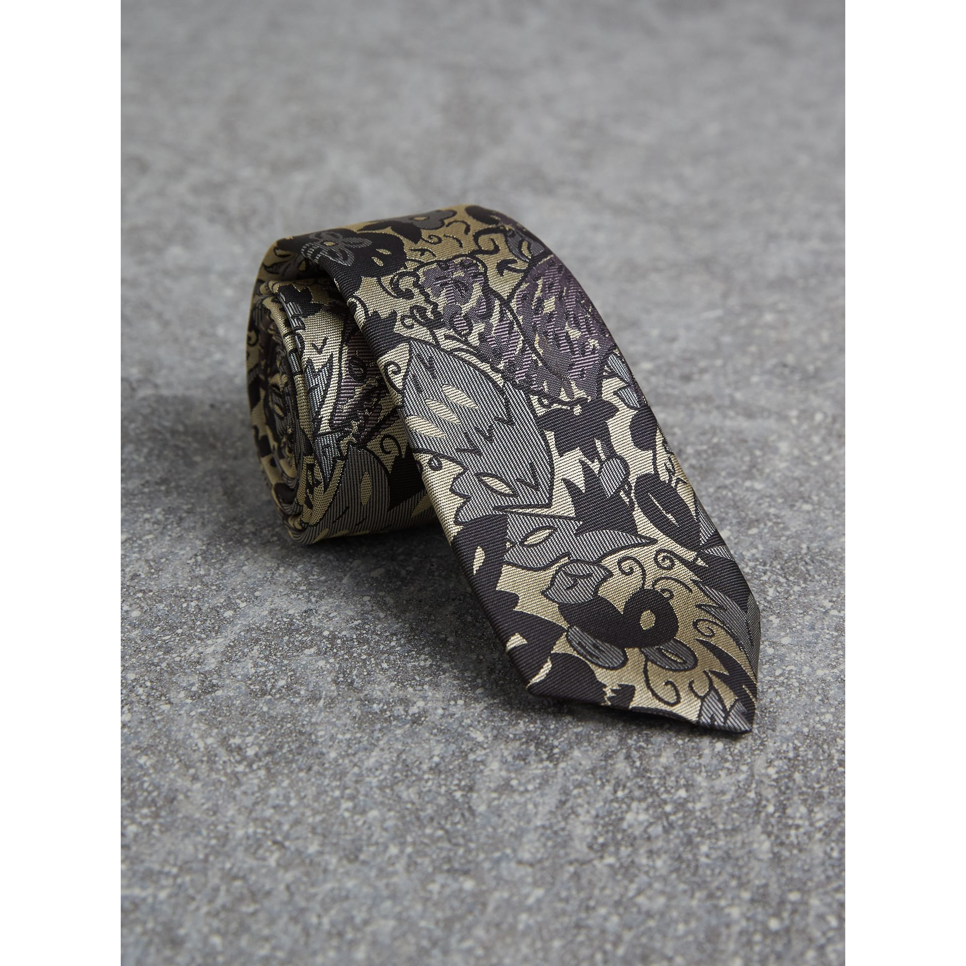 Slim Cut Beasts Silk Jacquard Tie in Pale Carbon Blue - Men | Burberry - gallery image 1