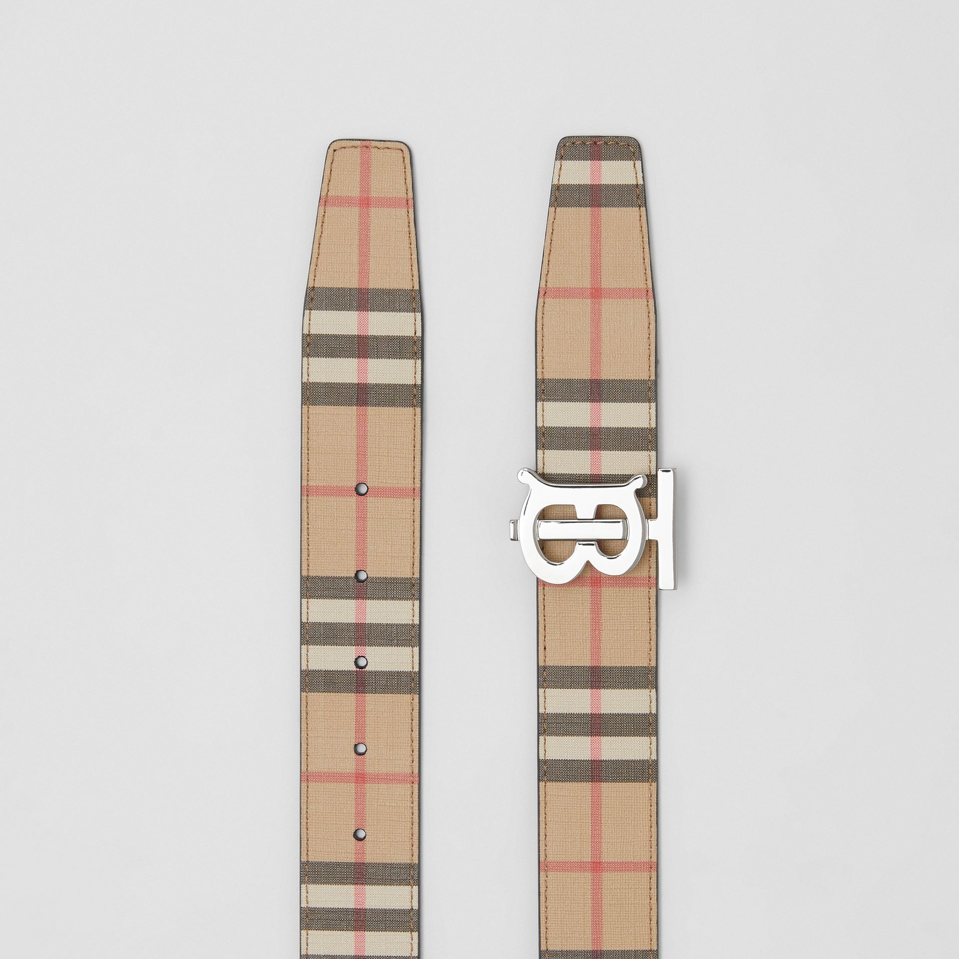Reversible Monogram Motif Vintage Check Belt in Archive Beige - Men | Burberry - gallery image 6