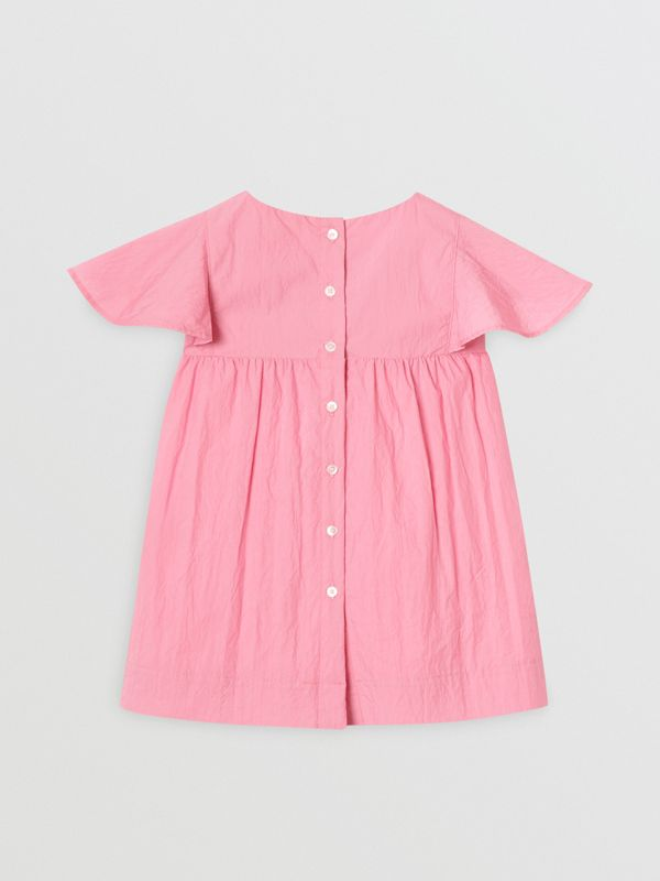 Ruffled Detail Crinkled Cotton Blend Dress in Bright Rose - Children | Burberry - cell image 3