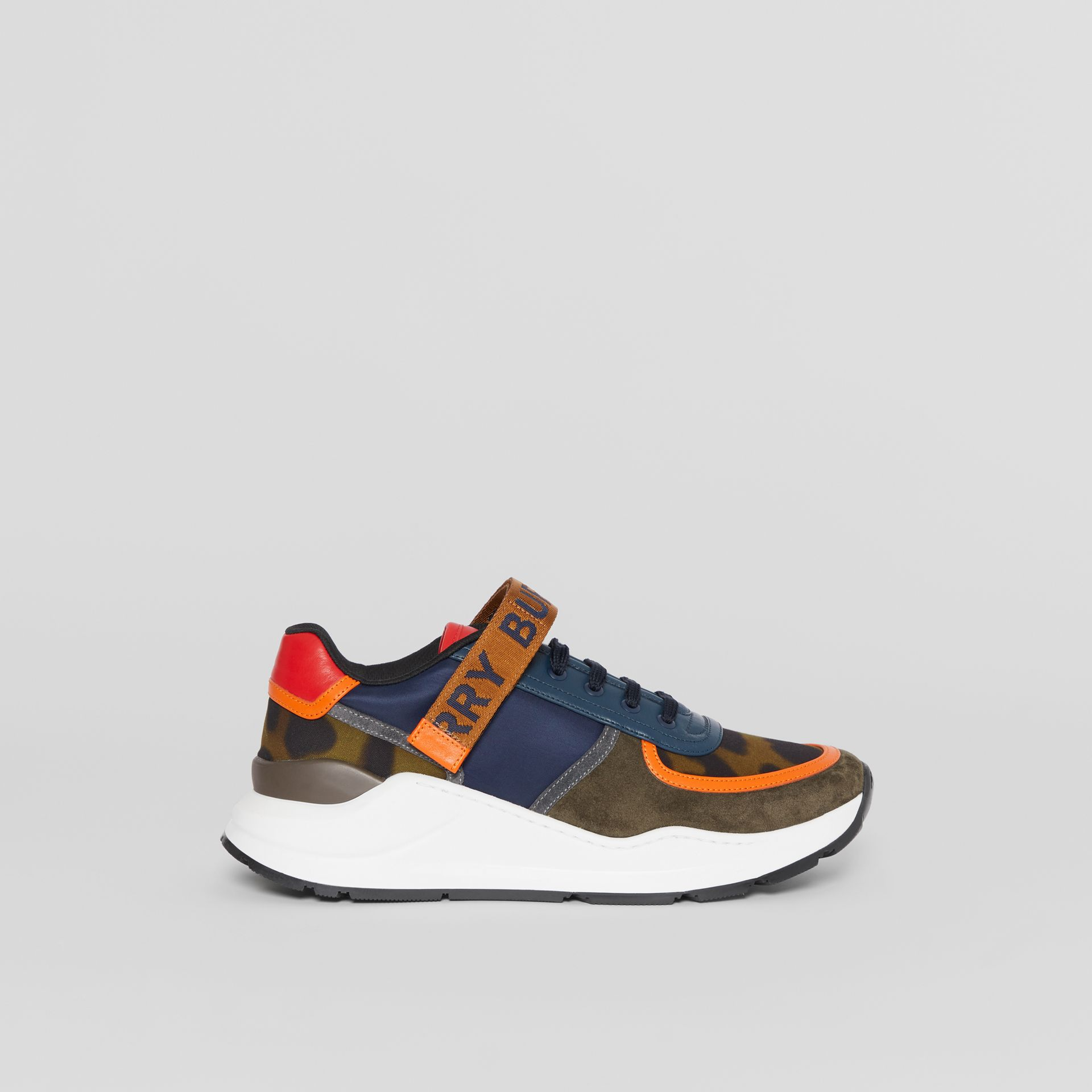 Logo Detail Leopard Print and Leather Sneakers in Blue/khaki - Men | Burberry United States - gallery image 5