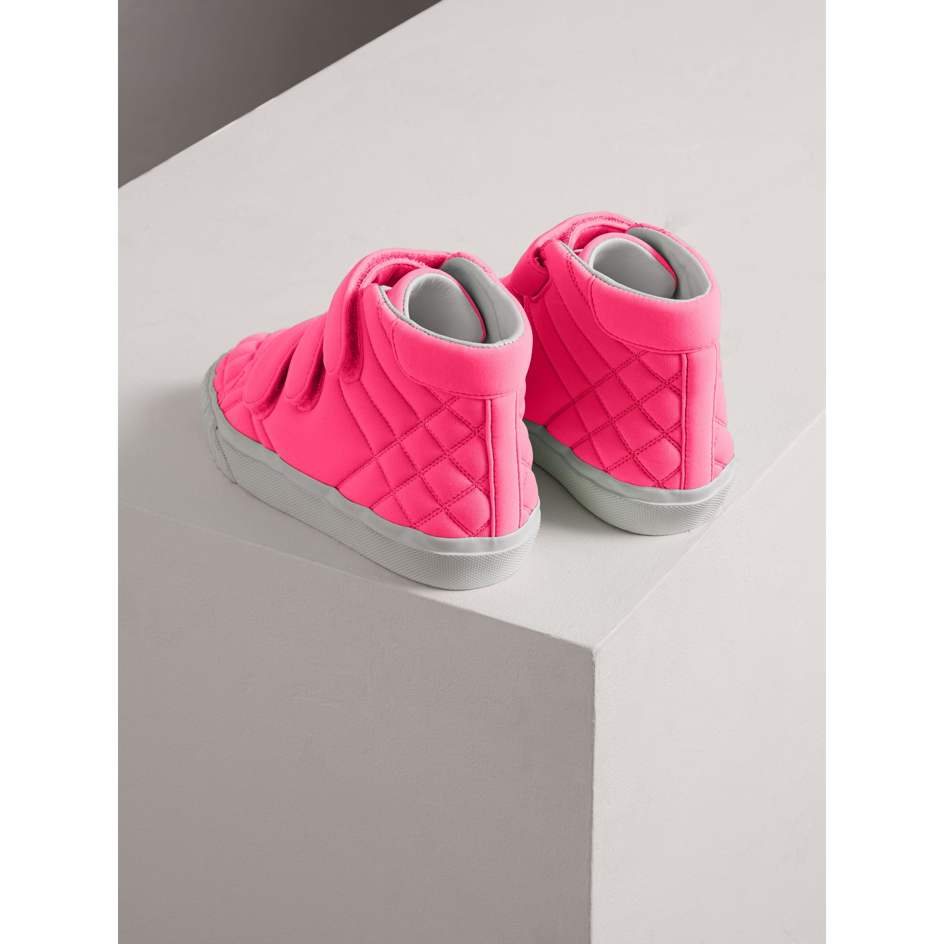 Quilted High-top Trainers in Neon Pink | Burberry - gallery image 2
