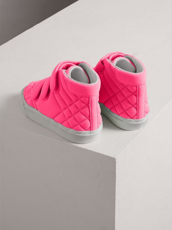 Quilted High-top Trainers in Neon Pink | Burberry - cell image 2