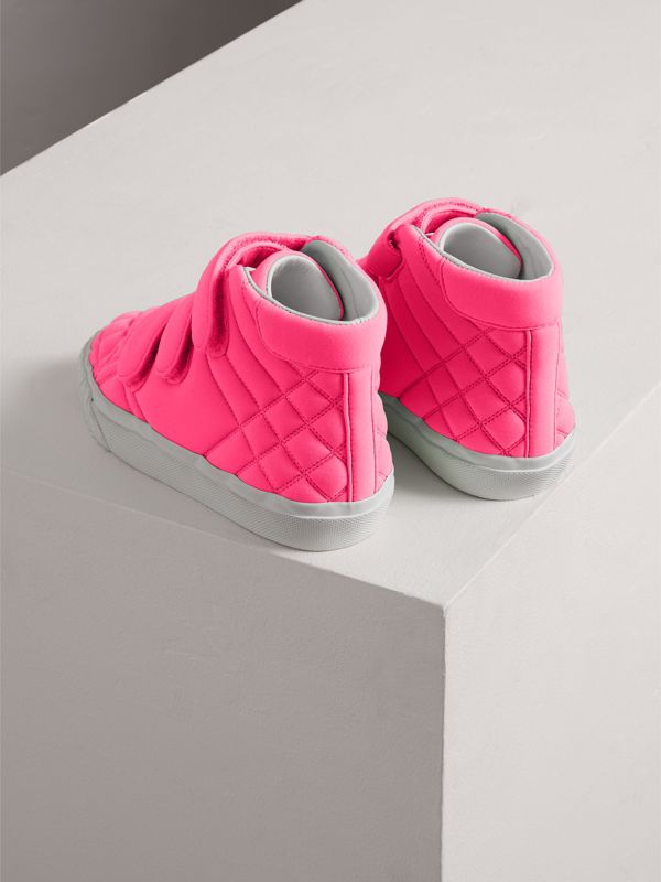 Quilted High-top Sneakers in Neon Pink - Children | Burberry - cell image 2