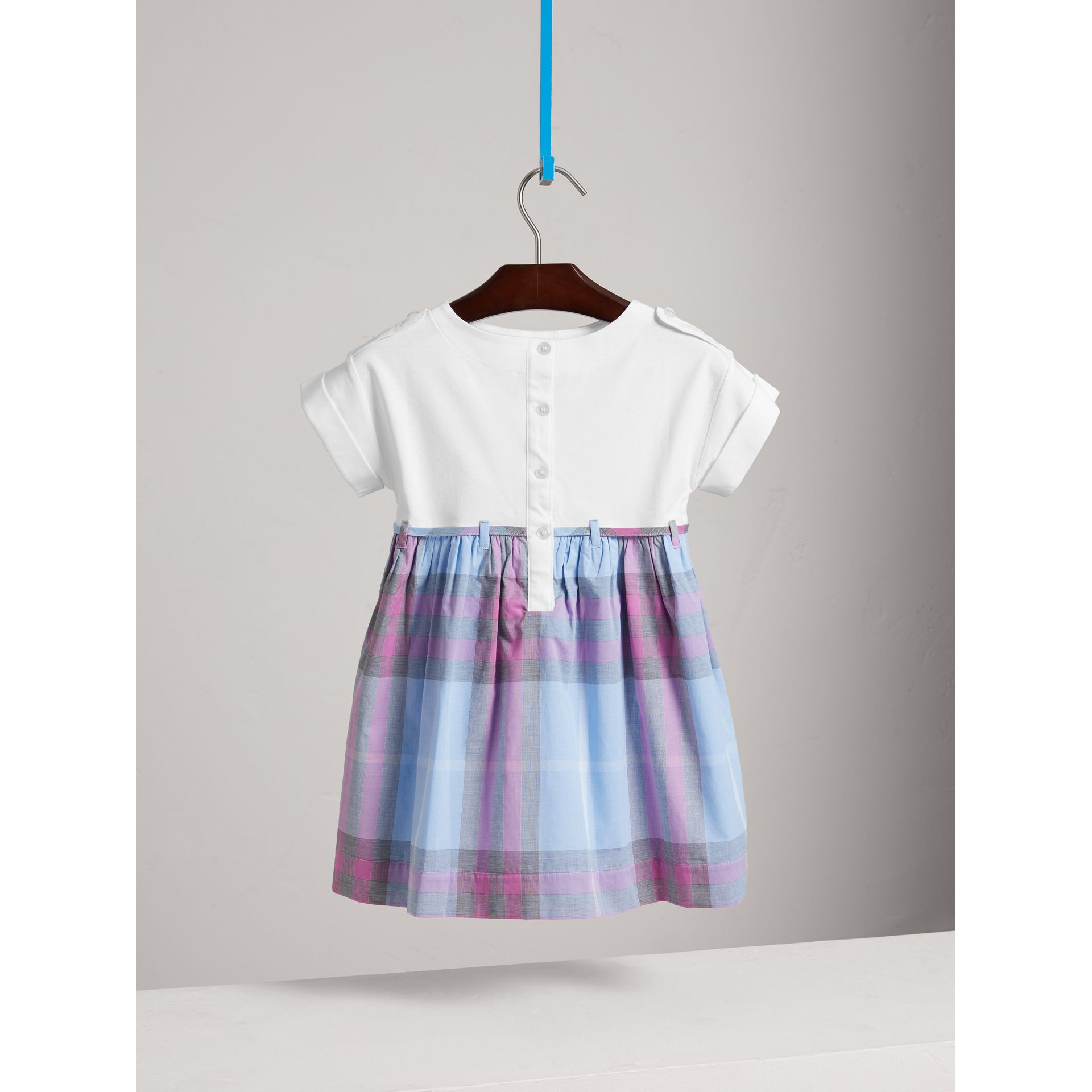 Check Cotton Dress in Chalk Blue - Girl | Burberry - gallery image 3