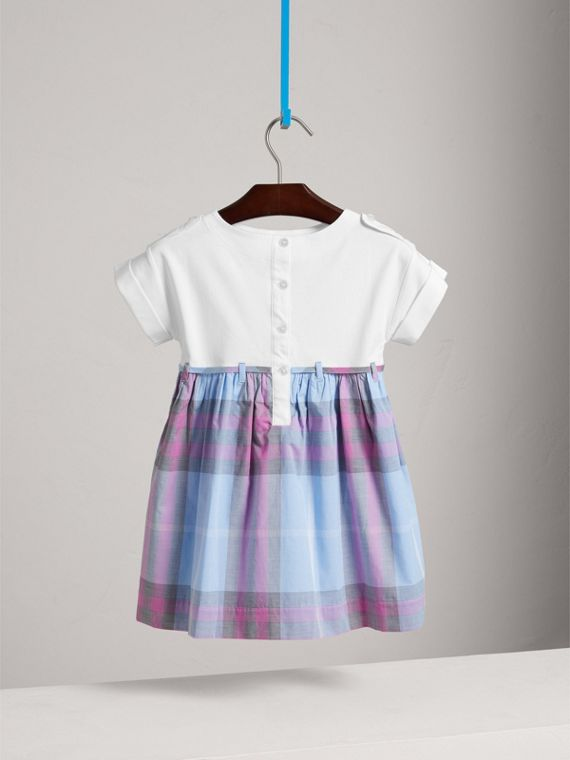 Check Cotton Dress in Chalk Blue - Girl | Burberry - cell image 3