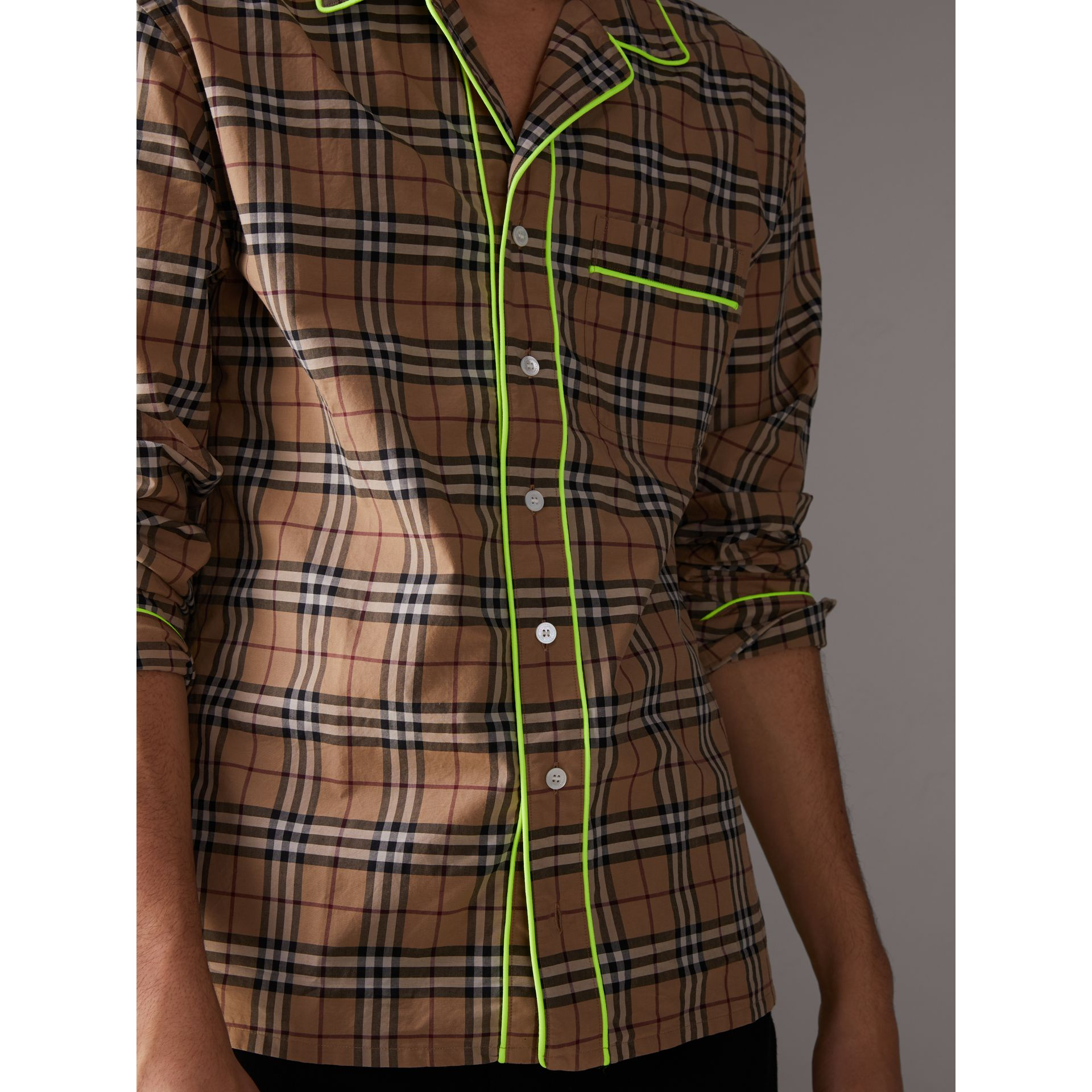 Contrast Piping Check Cotton Pyjama-style Shirt in Camel - Men | Burberry - gallery image 1
