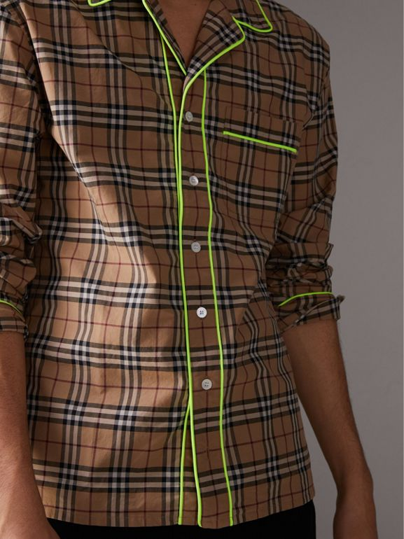 Contrast Piping Check Cotton Pyjama-style Shirt in Camel | Burberry - cell image 1