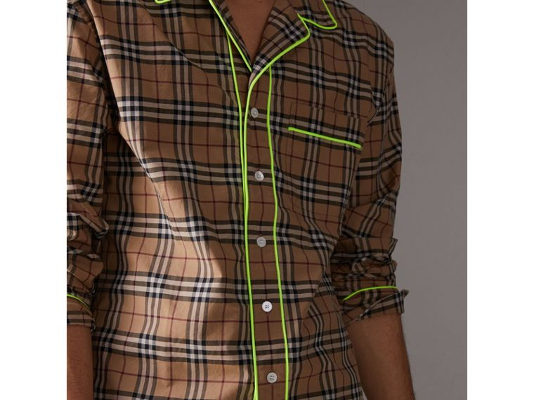 Contrast Piping Check Cotton Pyjama-style Shirt in Camel - Men | Burberry United States - cell image 1