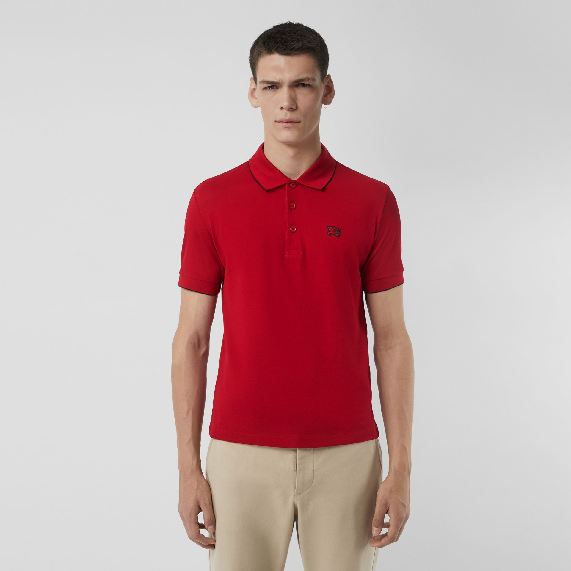 Tipped Cotton Piqué Polo Shirt in Military Red - Men | Burberry - gallery image 0