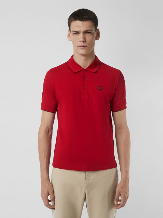 Tipped Cotton Piqué Polo Shirt in Military Red