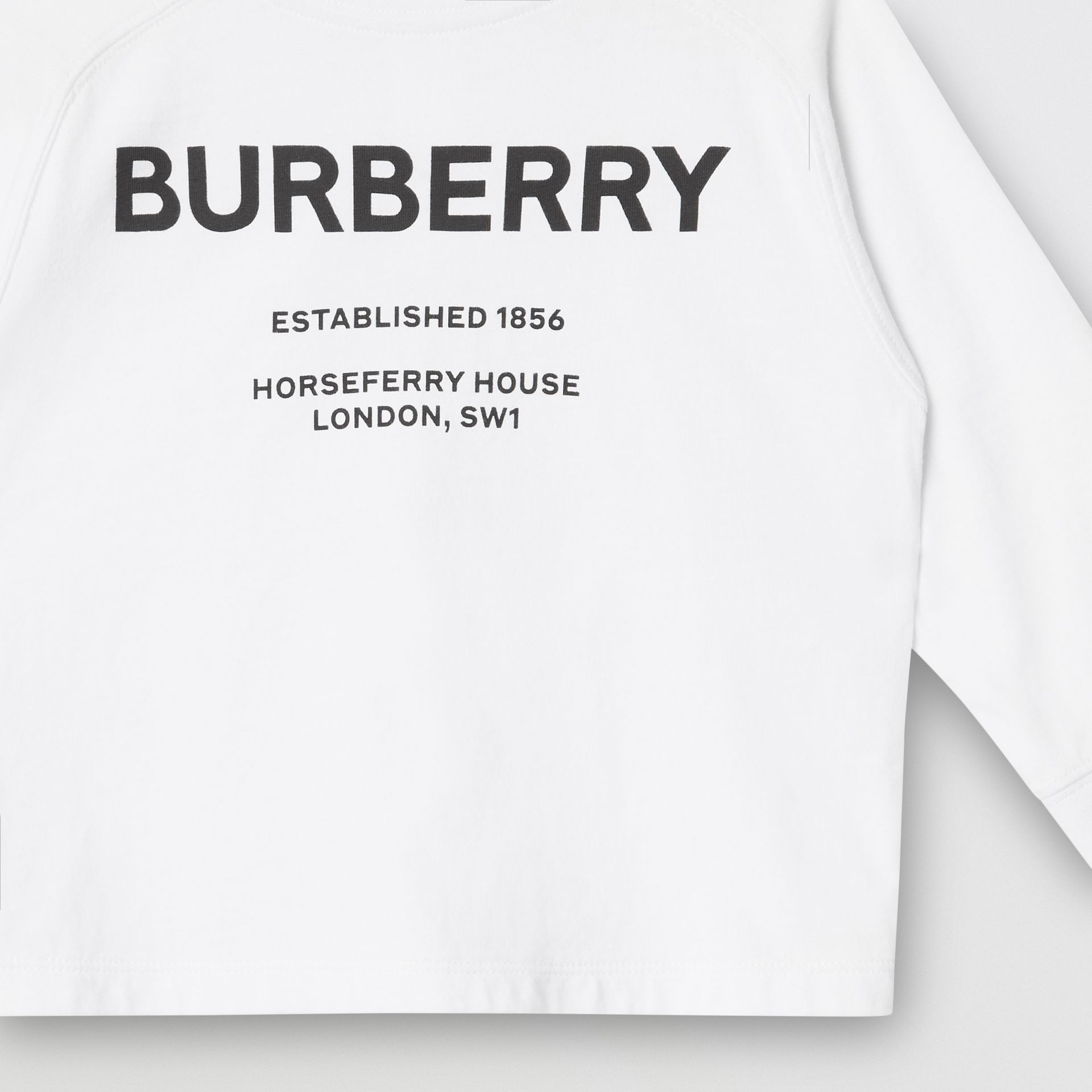 Long-sleeve Horseferry Print Cotton Top in White - Children | Burberry - gallery image 5