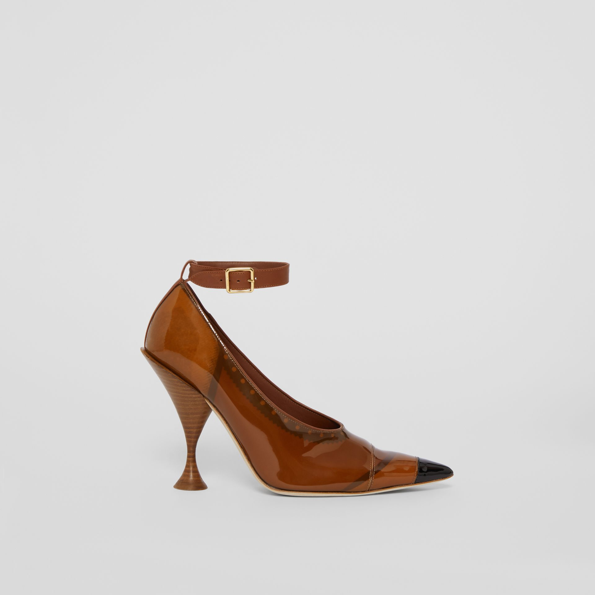 Vinyl and Leather Point-toe Pumps in Malt Brown - Women | Burberry - gallery image 5