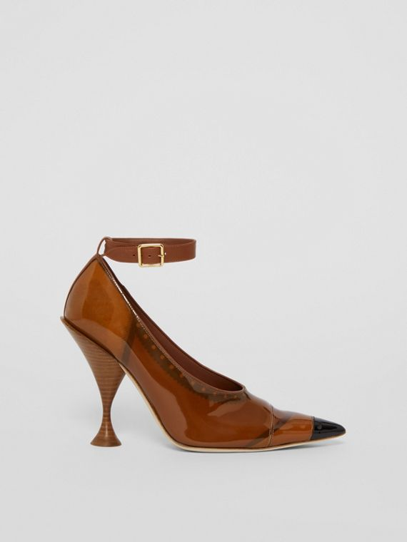 Vinyl and Leather Point-toe Pumps in Malt Brown