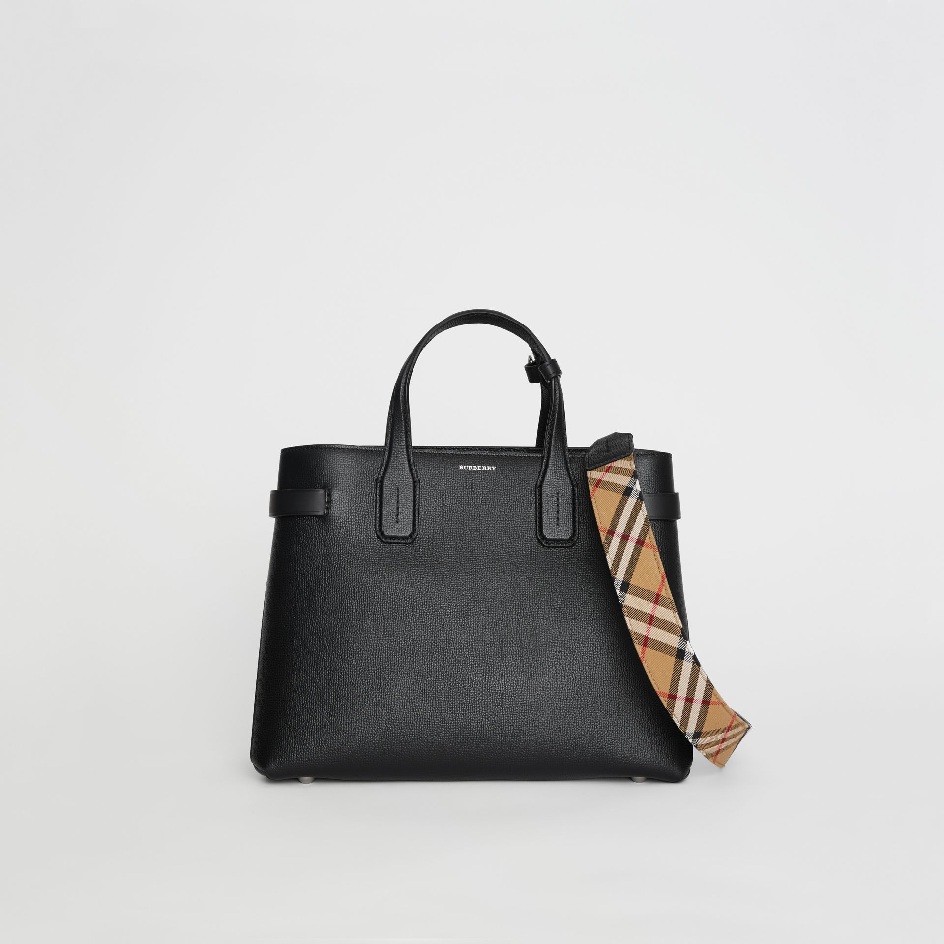 Sac The Banner moyen en cuir et motif Vintage check (Noir) - Femme | Burberry - photo de la galerie 0