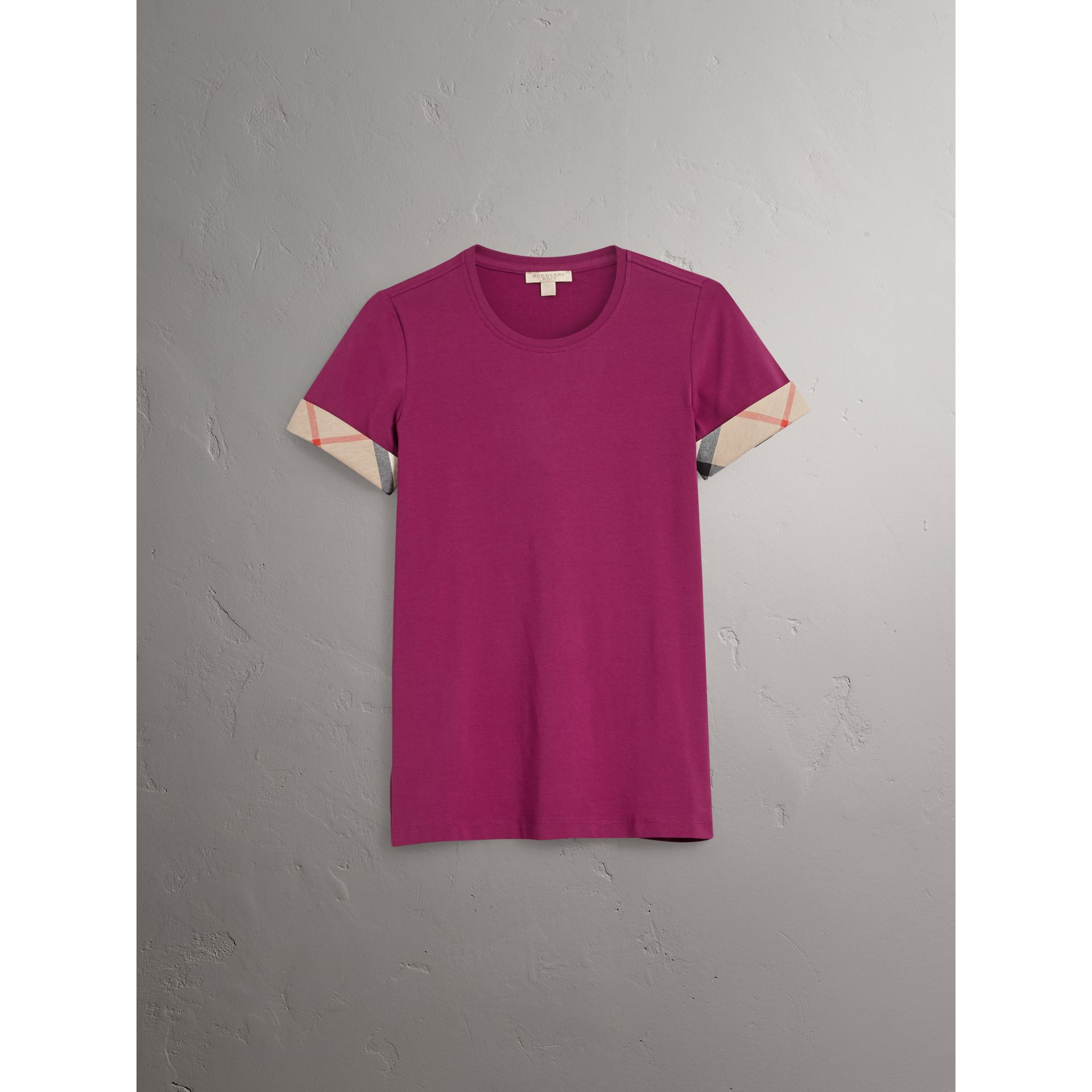 Check Cuff Stretch Cotton T-Shirt in Magenta Pink - Women | Burberry Canada - gallery image 4