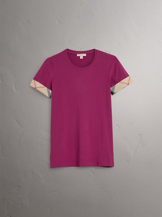 Check Cuff Stretch Cotton T-Shirt in Magenta Pink - Women | Burberry Canada - cell image 3
