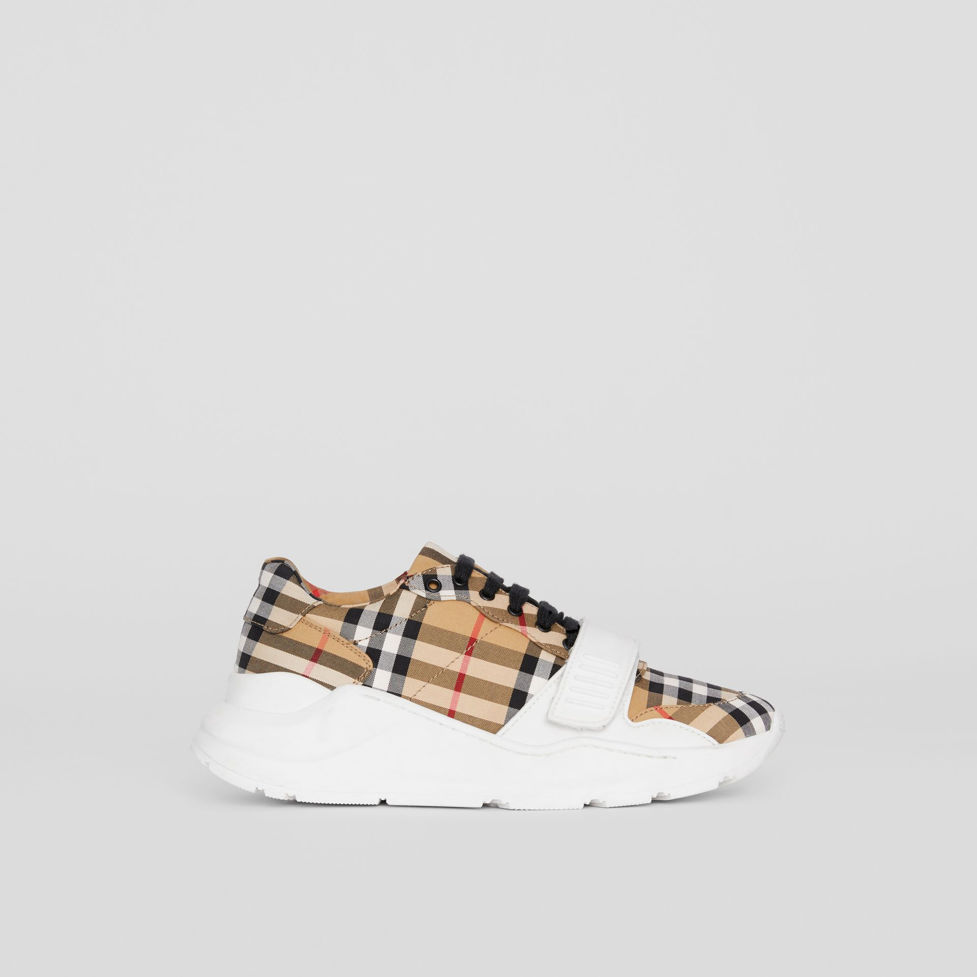Vintage Check Cotton Sneakers in Antique Yellow - Women | Burberry United Kingdom - gallery image 5
