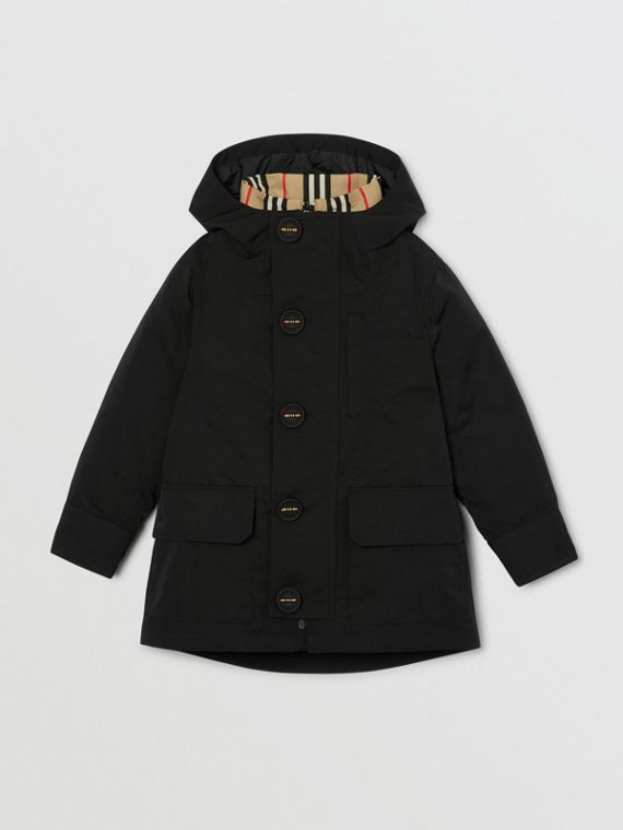 Hooded Coat with Detachable Icon Stripe Puffer in Black