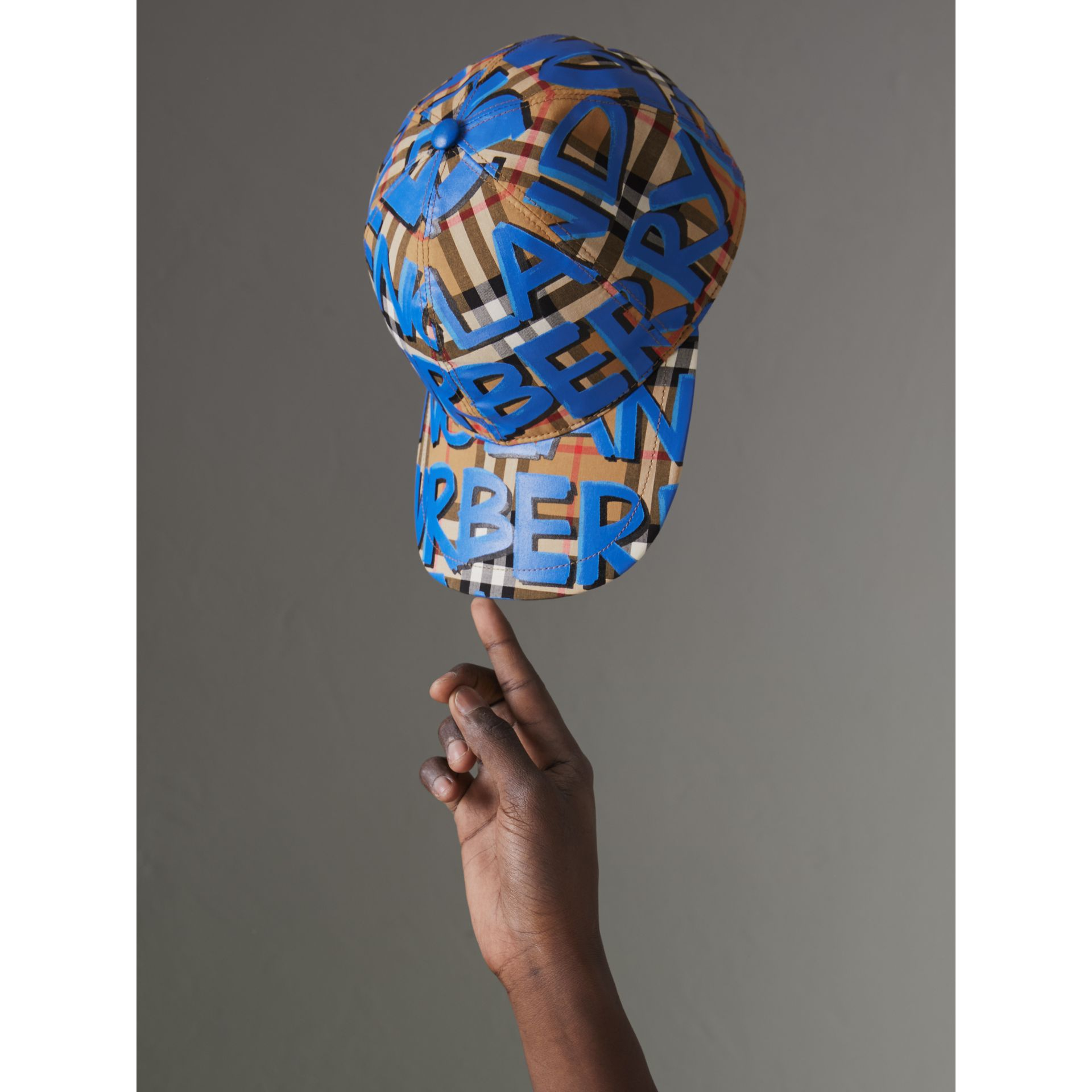 Graffiti Print Vintage Check Baseball Cap in Blue | Burberry - gallery image 4