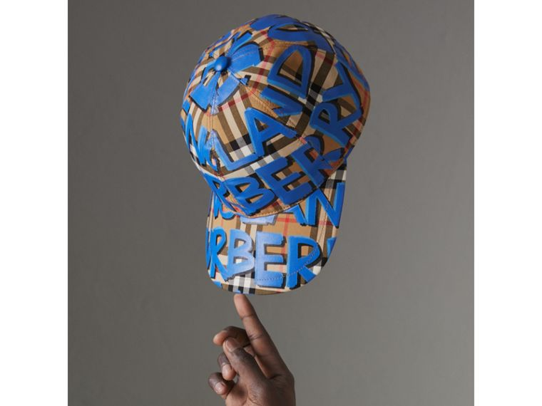 Graffiti Print Vintage Check Baseball Cap in Blue | Burberry - cell image 4