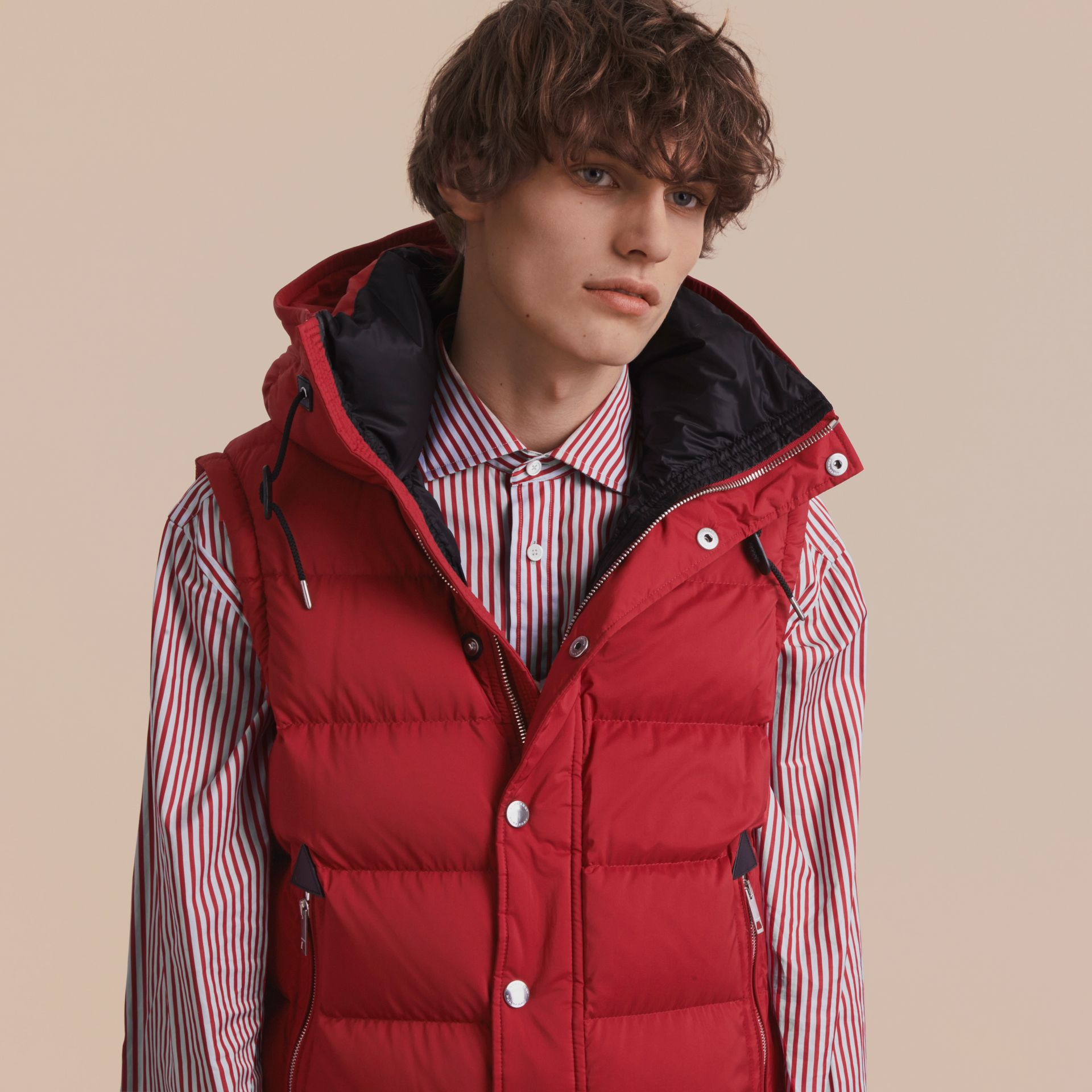 Down-filled Hooded Jacket with Detachable Sleeves in Parade Red - gallery image 3