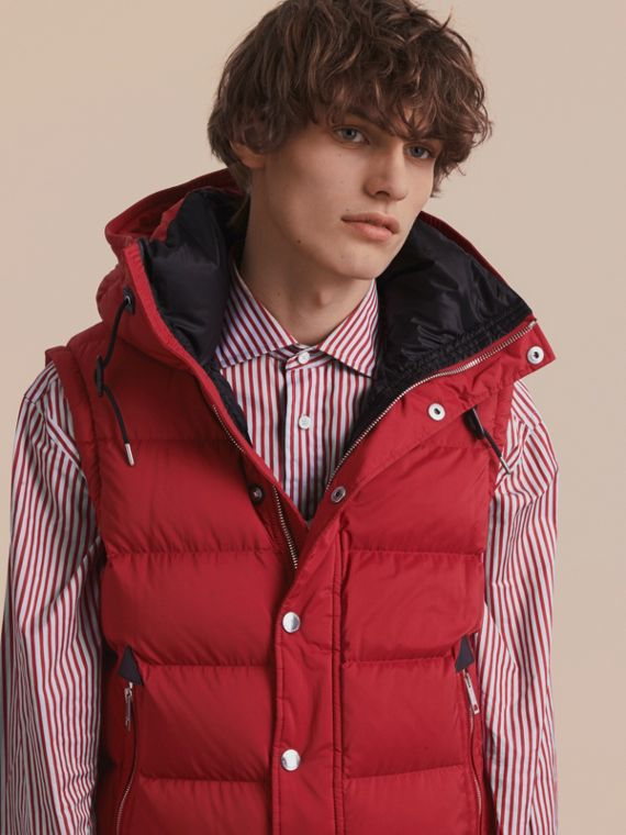 Down-filled Hooded Jacket with Detachable Sleeves in Parade Red - cell image 2