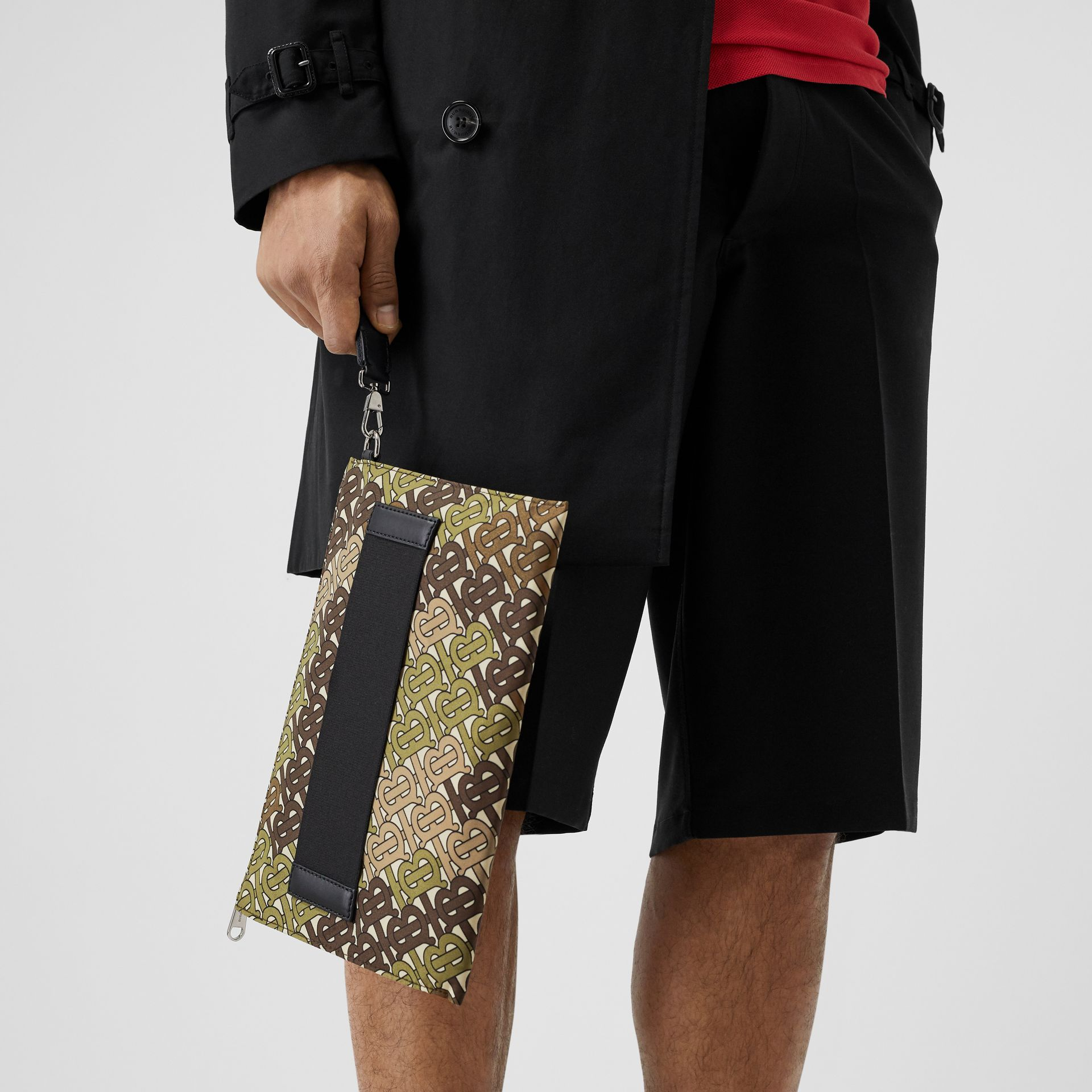 Monogram Print Zip Pouch in Khaki Green - Men | Burberry Australia - gallery image 2