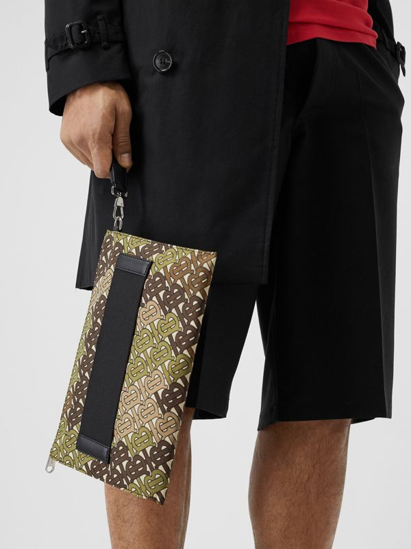 Monogram Print Zip Pouch in Khaki Green - Men | Burberry Canada - cell image 2