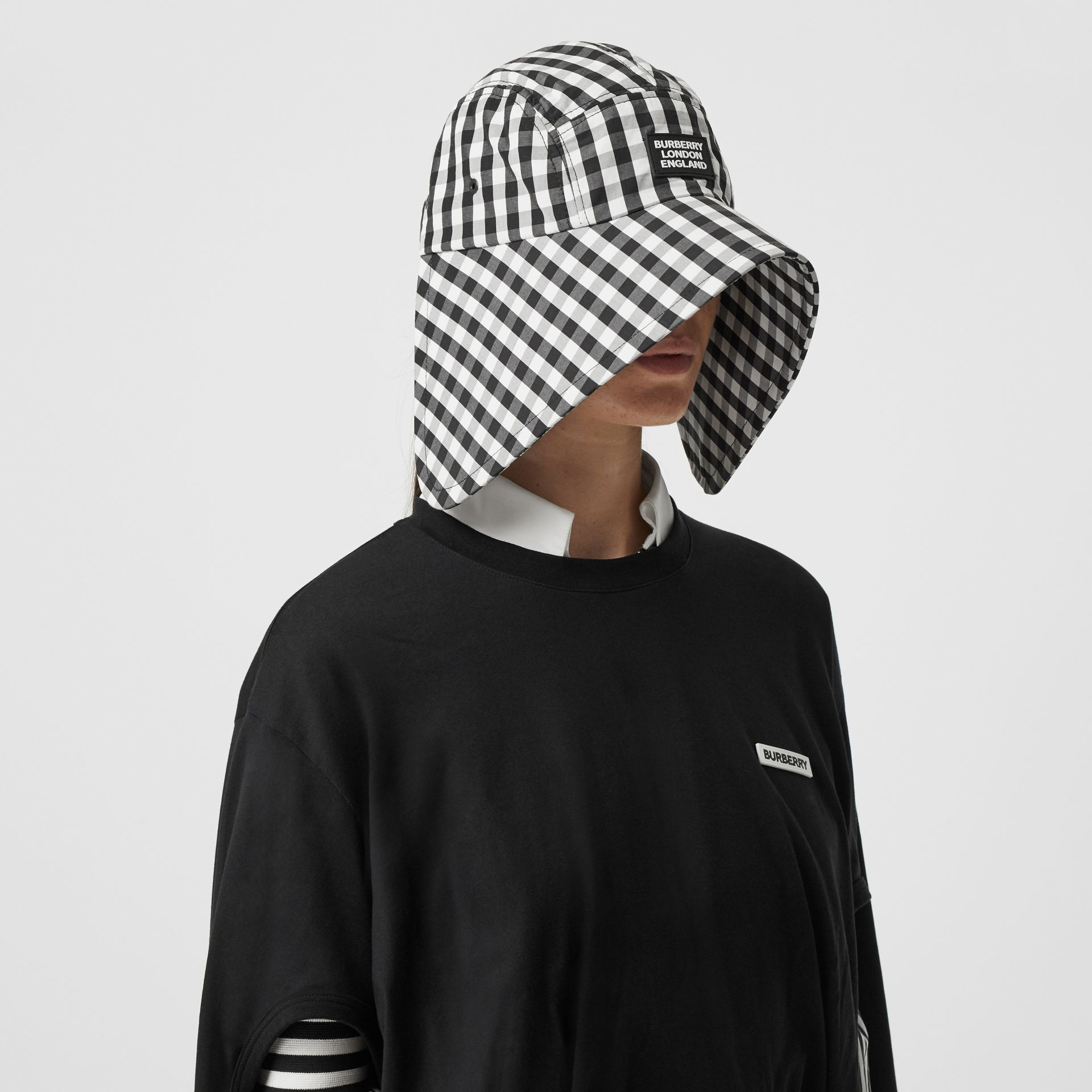 Logo Appliqué Gingham Cotton Bonnet Cap in Black/white | Burberry - gallery image 5