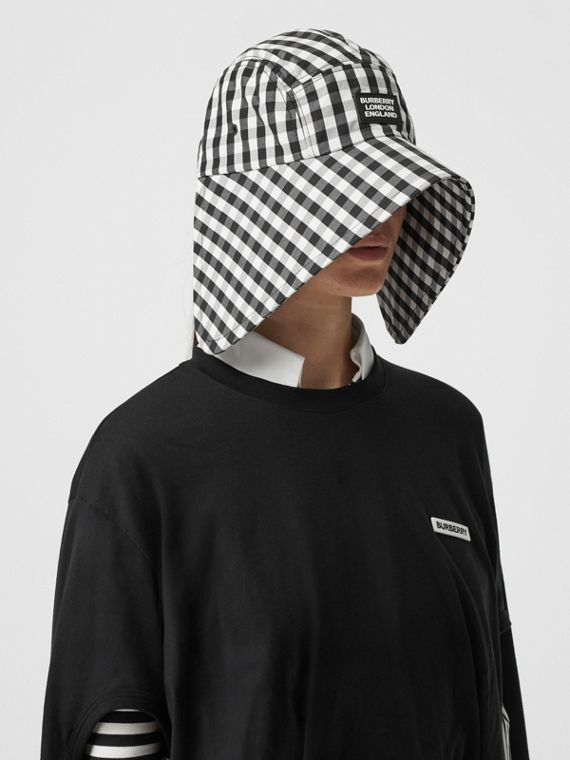 로고 아플리케 깅엄 코튼 보닛 모자 (블랙/화이트)