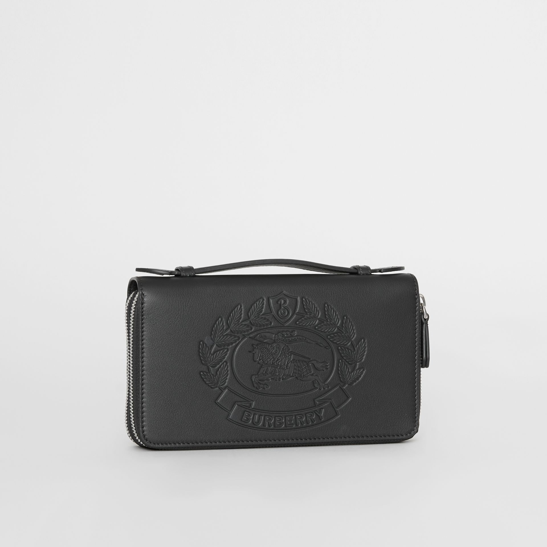 Embossed Crest Leather Travel Wallet in Black - Men | Burberry Australia - gallery image 4