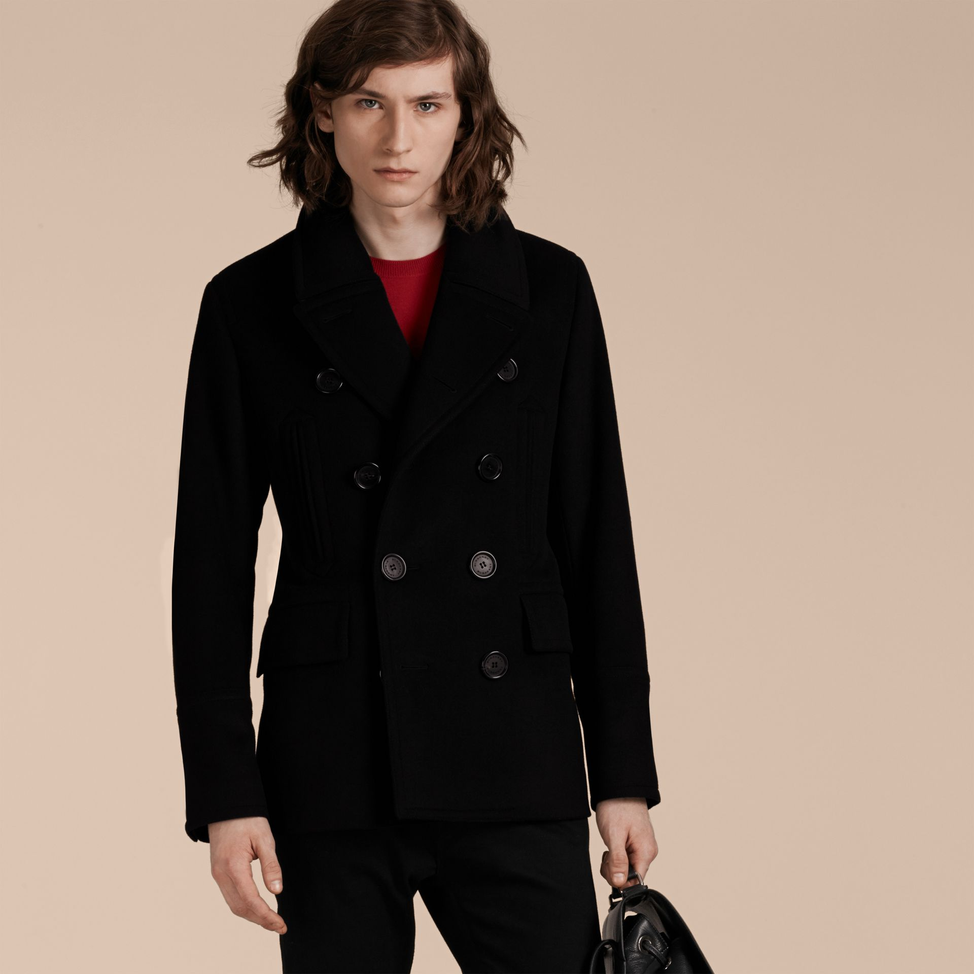 Black Wool Cashmere Pea Coat Black - gallery image 2