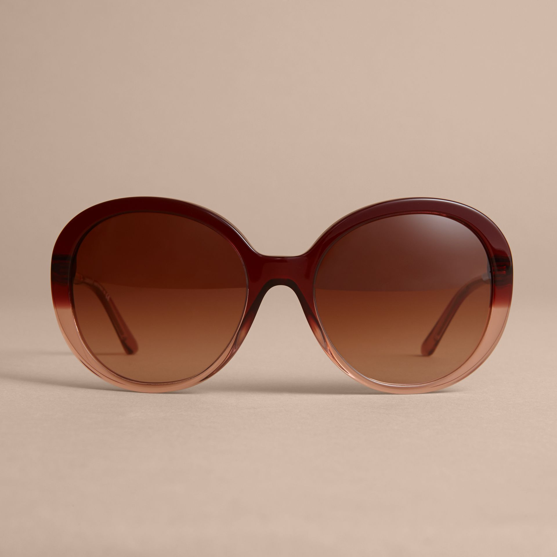 Check Detail Round Frame Sunglasses Oxblood - gallery image 3