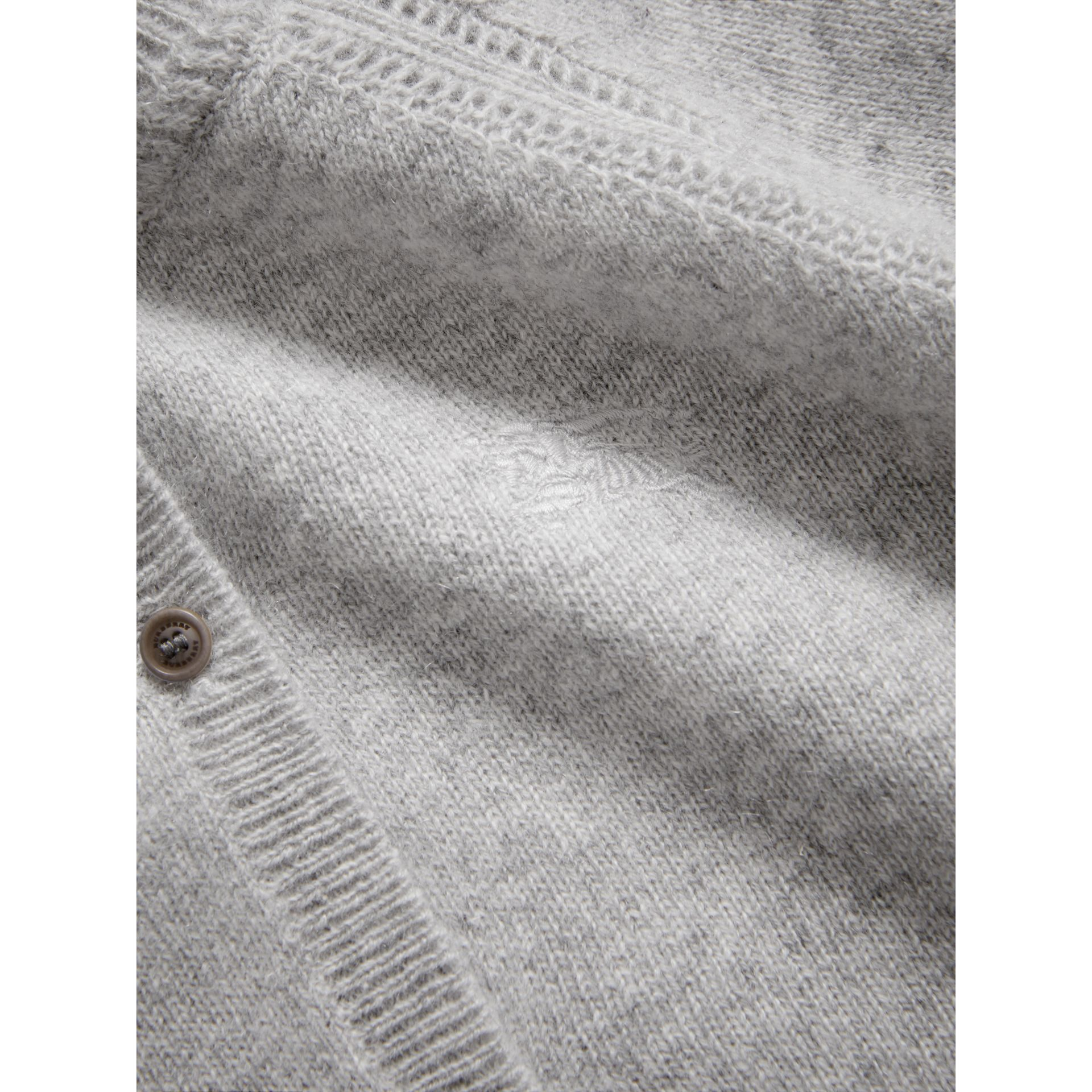 Check Detail Cashmere Cardigan in Light Grey Melange - Girl | Burberry - gallery image 1