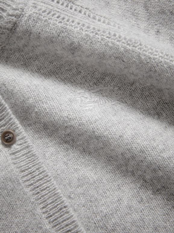 Check Detail Cashmere Cardigan in Light Grey Melange | Burberry United Kingdom - cell image 1